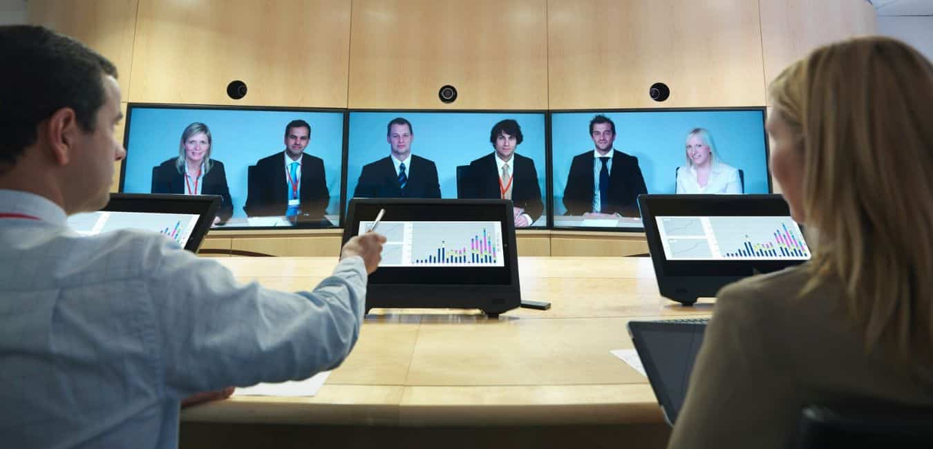 Multiple screens video conference.