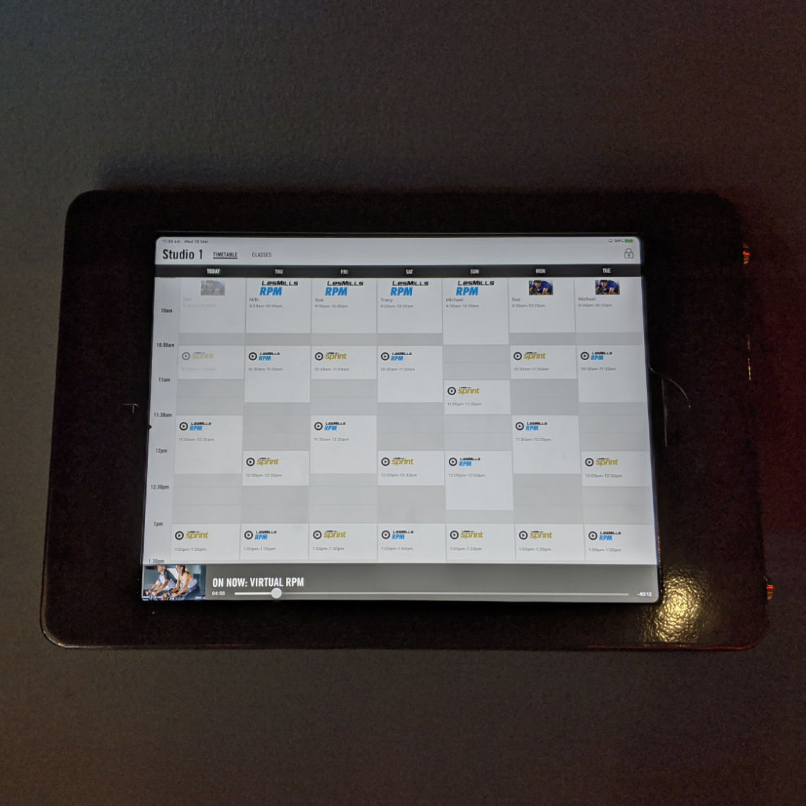 Wall Mount iPad Timetable at Les Mills Gym